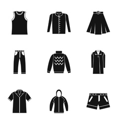 Types of clothes icons set simple style vector image vector image