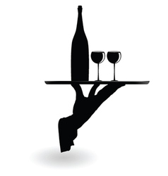 Waiter carrying wine glasses on the tray black vector