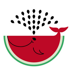 Watermelon icon flat watermelon - whale produces vector