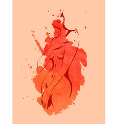 Nude women on the red watercolor background vector image