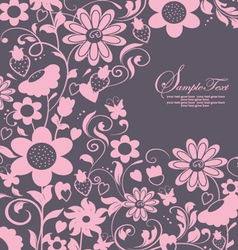 Purple abstract floral card vector