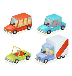 Isometric car vehicle transport icons set design vector