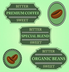 Set of bitter sweet coffee on green badge vector