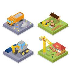 isometric construction industry industrial crane vector image