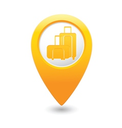 Suitcases icon yellow map pointer vector