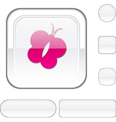Butterfly white button vector