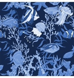 Blue sea life seamless background underwater vector