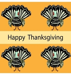 Happy thanksgiving turkey holiday background vector