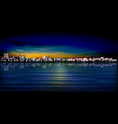 Abstract sunset background with silhouette of city vector