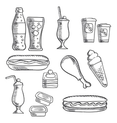 Fast food with dessert and drinks sketch icons vector