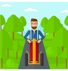 Man riding on electric scooter vector