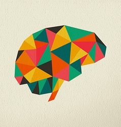 Low poly brain abstract concept vector