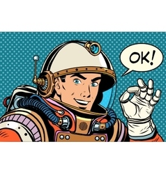 Ok astronaut man okay gesture well vector