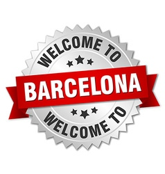 Barcelona 3d silver badge with red ribbon vector