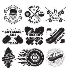 Set of skateboarding labels - skull in helmet vector image