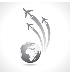 Airplanes flying around a globe vector image vector image