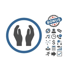 Applause hands flat icon with bonus vector