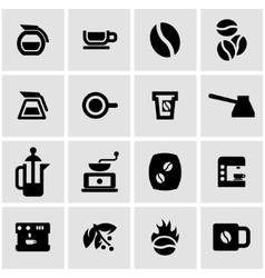 Black coffee icon set vector
