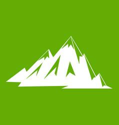 Canadian mountains icon green vector