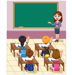 Cartoon little kids a study in the classroom vector