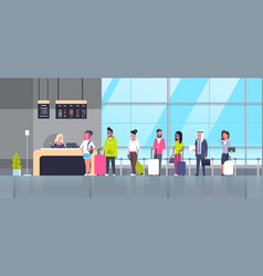 Check in airport group of mix race passengers vector