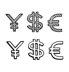 hand draw doodle sketch money icon dollar euro vector image vector image