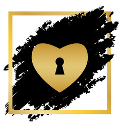 Heart with lock sign golden icon at black vector