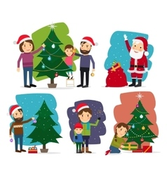 Merry Christmas Decorating the Christmas tree vector image vector image