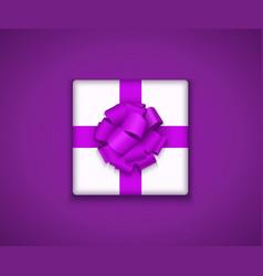 Modern gift box with bow ribbon vector
