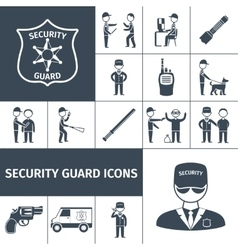 Security guard black icons set vector image