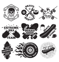 Set of skateboarding labels - skull in helmet vector