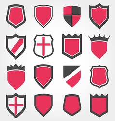 shield set icon vector image vector image