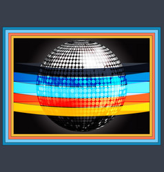silverd disco ball wrapped in multicoloured vector image vector image