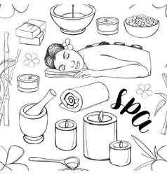 Spa doodle set pattern vector image