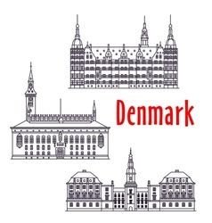 Symbolic travel sights of Denmark thin line icon vector image vector image