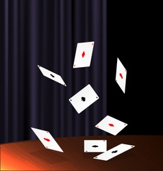 table and flying cards vector image vector image