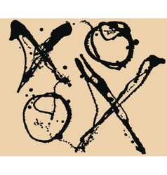 Tic tac toe xo game splatter black ink background vector