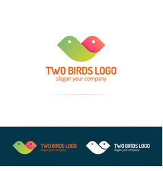 Two birds logo set flat modern color style vector