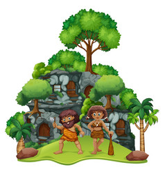 Two cavemen at home vector