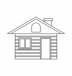 Wooden log house icon outline style vector image vector image