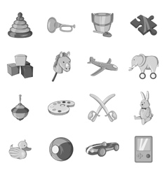Childrens toys icons set black monochrome style vector