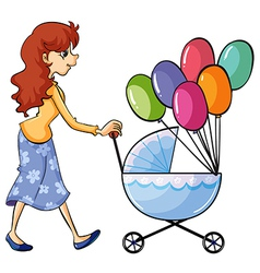 A girl and baby pram vector image