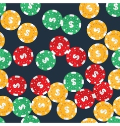 Casino gambling chips seamless pattern vector image