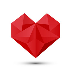 Polygonal red heart vector