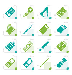 Stylized simple object icons vector
