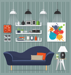 Interior room design vector