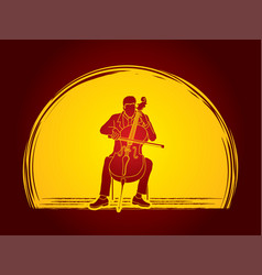 Cellist player a man play cello classic music vector