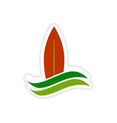 Paper sticker surfboard logo on white background vector