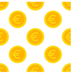 Golden euro coins seamless pattern vector