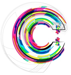 Colorful font letter c vector
